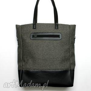 na ramię shopper bag - tkanina w jodełkę i skóra czarna, elegancka, nowoczesna