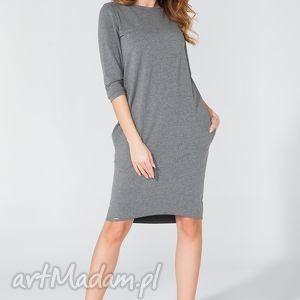 sukienka midi z kieszeniami na biodrach t105 kolor szary - tessita - elegancka, midi