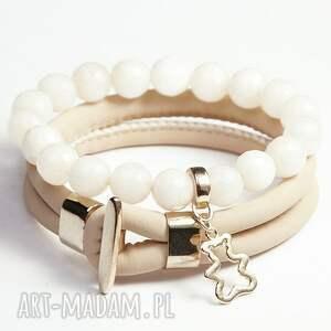 beige gold, zamsz, ekologiczny, pozłacane, komplet, miś, prezent biżuteria