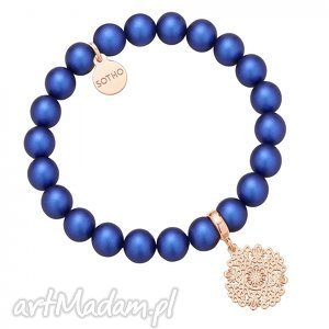 naszyjniki perłowa bransoletka z pereł swarovski crystal rozetką różowego złota