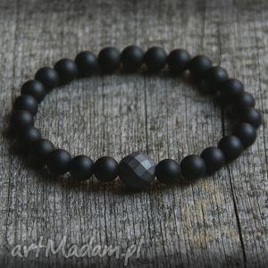 męska bransoletka - black stone hematyt, męska, mężczyzna, on, prezent biżuteria