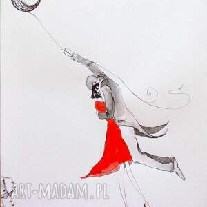 Grafika wykonana akwarelami i piórkiem Lecimy na księżycu A3, grafika, rysunek