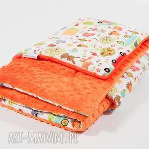 Kocyk minky - pomarańczowy kemping 75x100 cm, kocyk, kołderka,