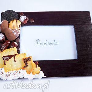 czekoladowa ramka na zdjęcia, czekolada, brązowy, fimo, modelina, słodycze, prezent