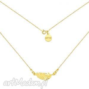 naszyjniki złoty naszyjnik z piórkiem, naszyjnik, modny, piórko, pozłacany