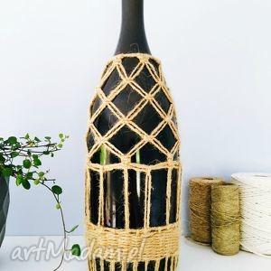 oryginalny prezent, zapetlona nitka wazon butelka w oplocie, wazon, butelka, makrama