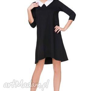 Sukienka z dołączonym kołnierzykiem T169, czarna, sukienka, rozkloszowana, dołączony