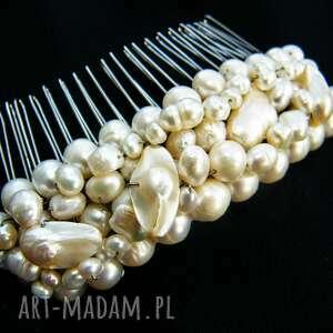 Grzebyk - ozdoba ślubna perły naturalne, perły, grzebyk, stroik, ślub,