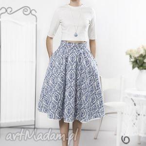 niebieska porcelanowa spódnica, retro, porcelanowa, bawełna ubrania