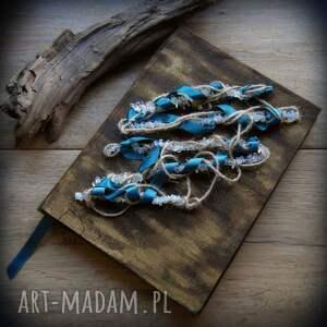 Notes A5 z lnianą twardą okładką Oplecione Kamienie - ręcznie robiony i malowany