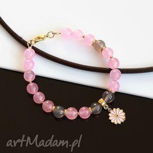 różowo-szara bransoletka, jadeit, agat, pozłacana, kwiat, metal biżuteria