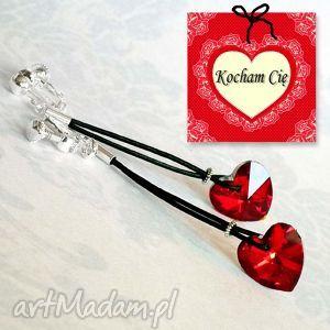 klipsy romantyczne serduszka czerwone śliczne długie klpisy na prezent, serce