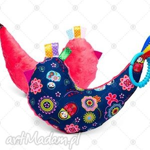 kurka przytulanka sensorek maskotka minky - granatowe matrioszki na arbuzie