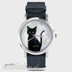 zegarek, bransoletka - czarny kot, szary grafitowy, nato, pasek, kot