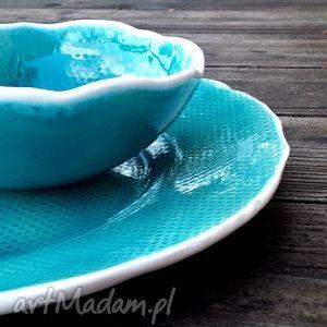 bubbles zestaw naczyń ceramicznych turkus, talerz, patera, misa, miska