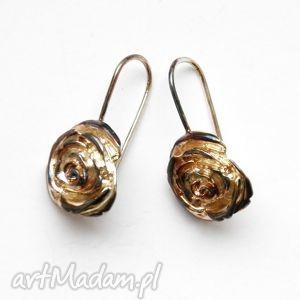 Kolczyki srebrne - Herbaciane róże, bizuteria, srebro, kolczyki