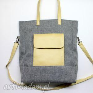 Prezent Shopper Bag - tkanina szara i skóra beż, elegancka, nowoczesna, handmade