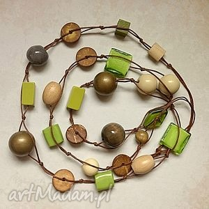 Powiew wiosny - długie korale, długie, ceramika, drewno, naszyjnik