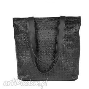 world of barracuda czarna wytłaczana skórzana torba, torebka, czarna, handmade