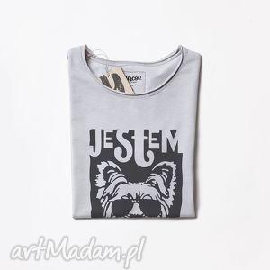 YORK MACZO szara koszulka z psem, pies, dog, tshirt, szary, oversize, dekolt