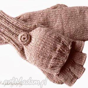 bezpalczatki z klapką 11 - rękawiczki, mitenki, klapka, dziergane, wełniane