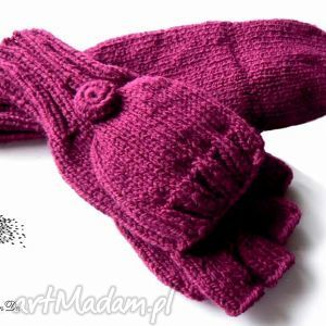 bezpalczatki z klapką 8 - rękawiczki, mitenki, klapka, dziergane, jednopalczaste