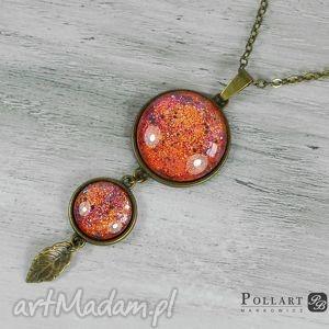 wisior, medalion z ręcznie malowanymi kaboszonami - wisior, medalion, naszyjnik