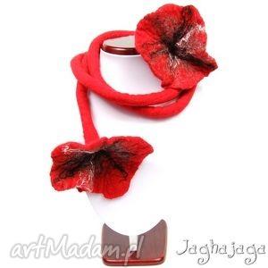 kwiaty na dredzie - filcowany, dread, kwiat, wełna, filc, naszyjnik