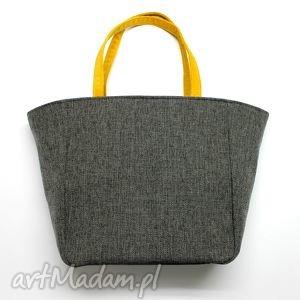 shopper bag worek - tkanina dark grey i żółty, elegancka, nowoczesna, handmade