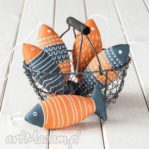 dekoracje ryba - pomarańczowo szara zawieszka, ryba, dekoracja, ozdoba