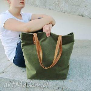 torebki shopper bag, szyte, handmade, shopper, klasycznie, zielona, modna, unikalny