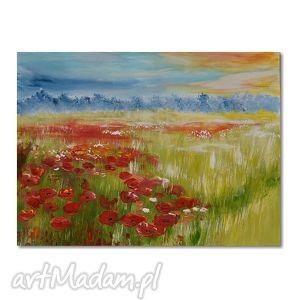 obrazy letnia łąka, obraz ręcznie malowany, obraz, ręcznie, pejzaz