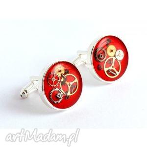 drobinyczasu spinki - steam dream red, biżuteria, oryginalny prezent