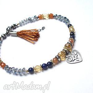 bransoletki z cynamonem -bransoletka, kwarc, srebro, kamieńksiężycowy, cytryn