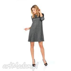 2 - sukienka srebrna rozkloszowana, lalu, sukienka, trapez, sylwester