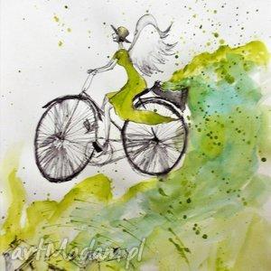 Grafika akwarelą i piórkiem Anioł na rowerze artystki Adriany Laube, rower, anioł