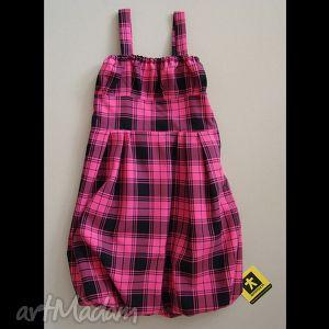 dziewczęca sukienka bombka w kratę różowo-czarną, sukienka, bombka, dziewczęca, krata