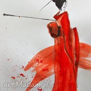 obrazy akwarela japonka artystki plastyka adriany laube, akwarela, japonka, gejsza