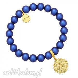 perłowa bransoletka z pereł swarovski crystal ze złotą rozetką, modna