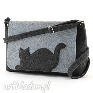 torebka filcowa- średnia z leżącym kotkiem, filc, torebka, kot, kotek