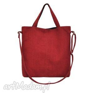 16-0024 czerwona duża torebka damska z paskiem na ramię jay, skórzane, najmodniejsze
