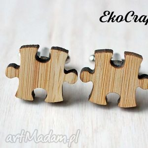 męska drewniane spinki do mankietów puzzle, spinki, mankietów, bambus