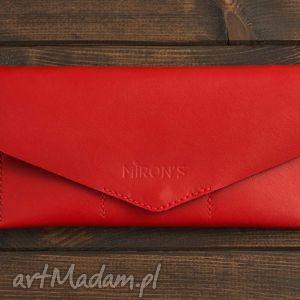 Kopertówka Czerwona, portfel, portfelik, kopertówka, skóra, skórzany, naturalny