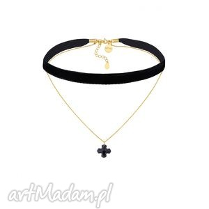 ręcznie wykonane naszyjniki czarny aksamitny choker z łańcuszkiem zdobionym krzyżem swarovski® crystal