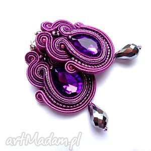 wkrętki sutasz w odcieniach fioletu z kryształkami, wkrętki, kryształki, sutasz, filc