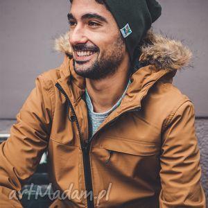 Zimowe Khaki Long, jesień, zima, czapka