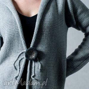 szary rozpinany sweter - arthermina, sweter, wełna, rozpinany