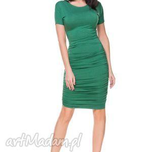 sukienki sukienka t159 marszczona po bokach, zielona, dzianina, wiskoza