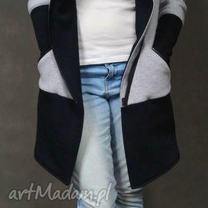 unikalny prezent, płaszcze b g płaszcz , dresowy, płaszcz, szaro, czarny, kieszenie