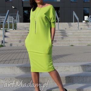 sukienka dresowa z kieszniami oversize rozmiary kolory, sukienka, limonka, dres